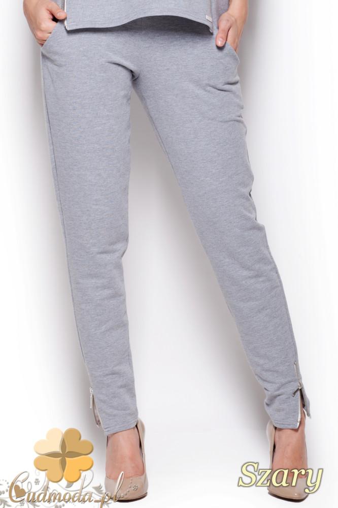 CM1217 Dzianinowe spodnie rurki z zamkami - szare