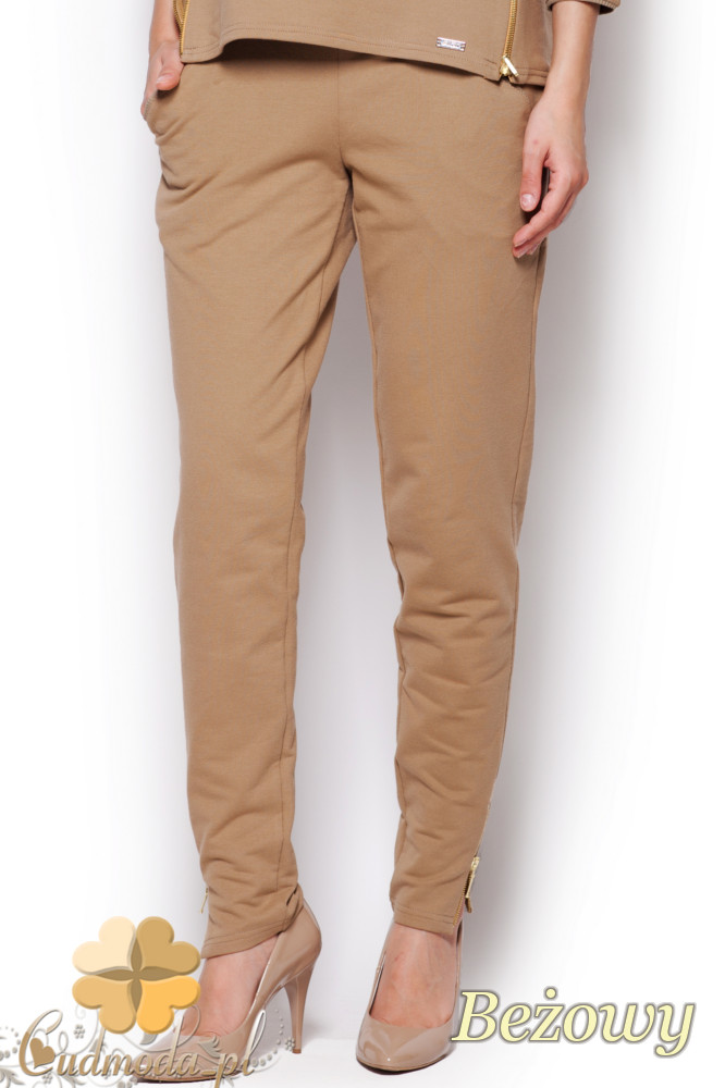 CM1217 Dzianinowe spodnie rurki z zamkami - beżowe
