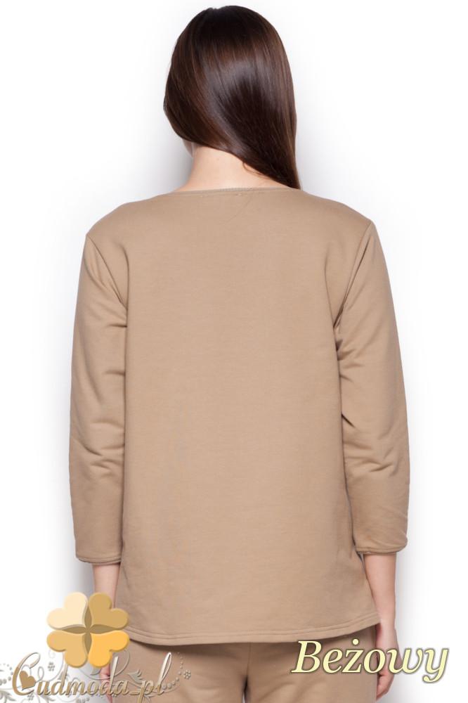 CM1218 Dzianinowa bluza z zamkami i dekoltem - beżowa