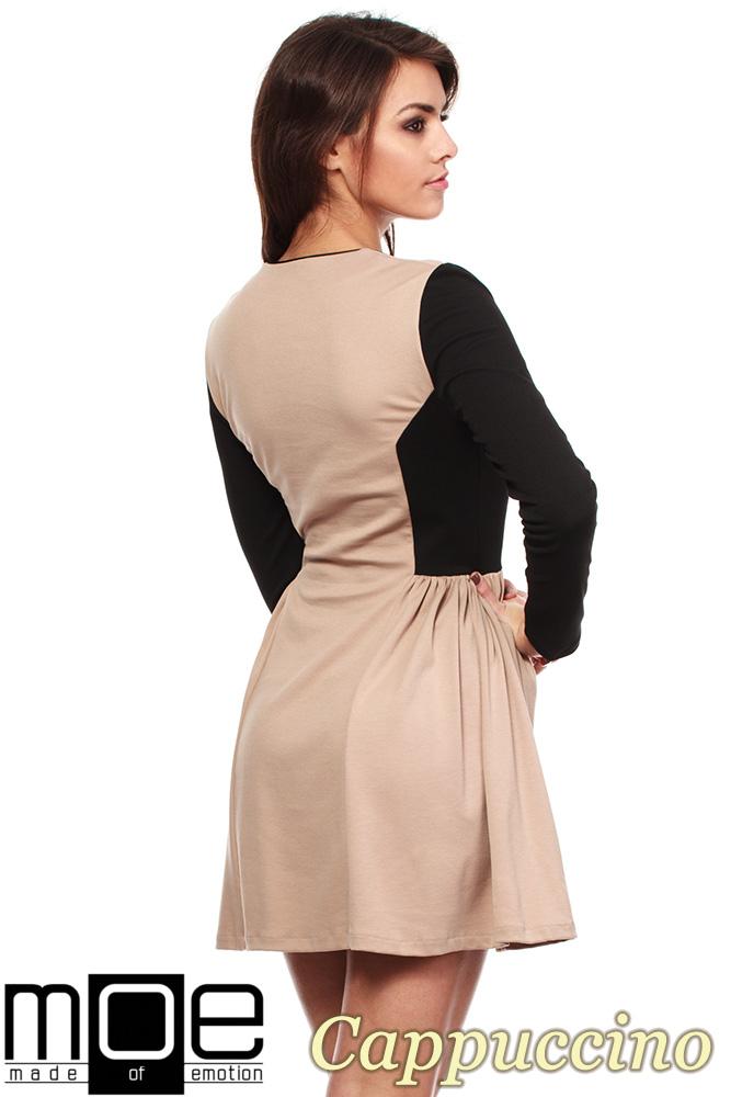 CM1220 Kobieca sukienka mini z marszczeniem na biodrach - cappuccino OUTLET