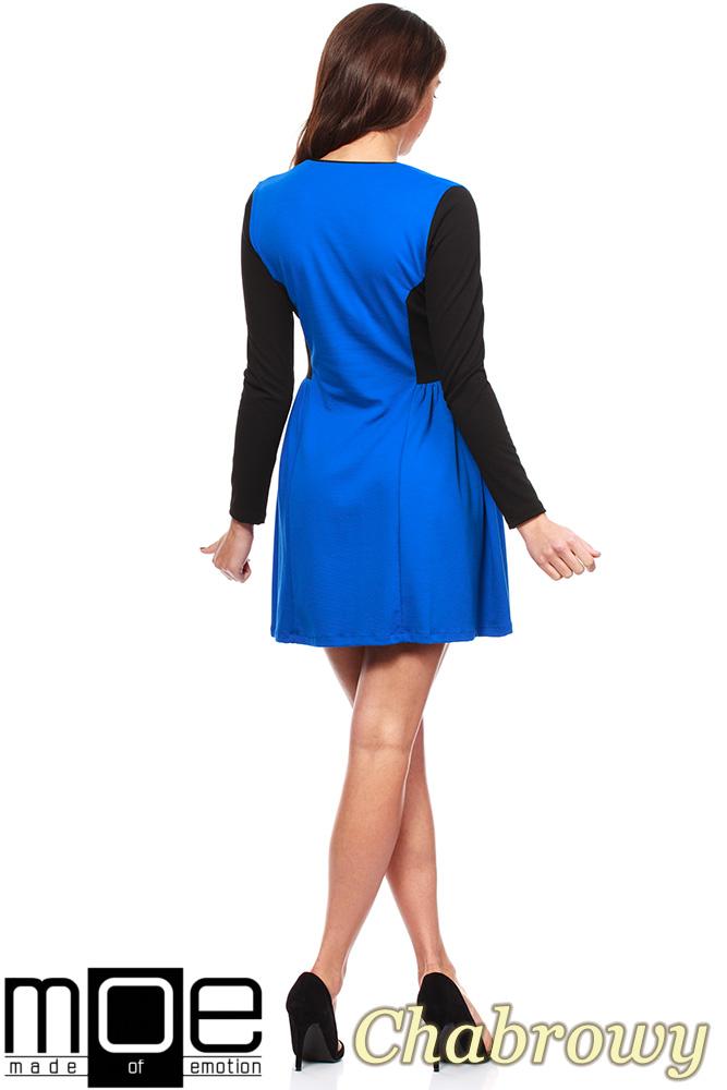 CM1220 Kobieca sukienka mini z marszczeniem na biodrach - chabrowa OUTLET
