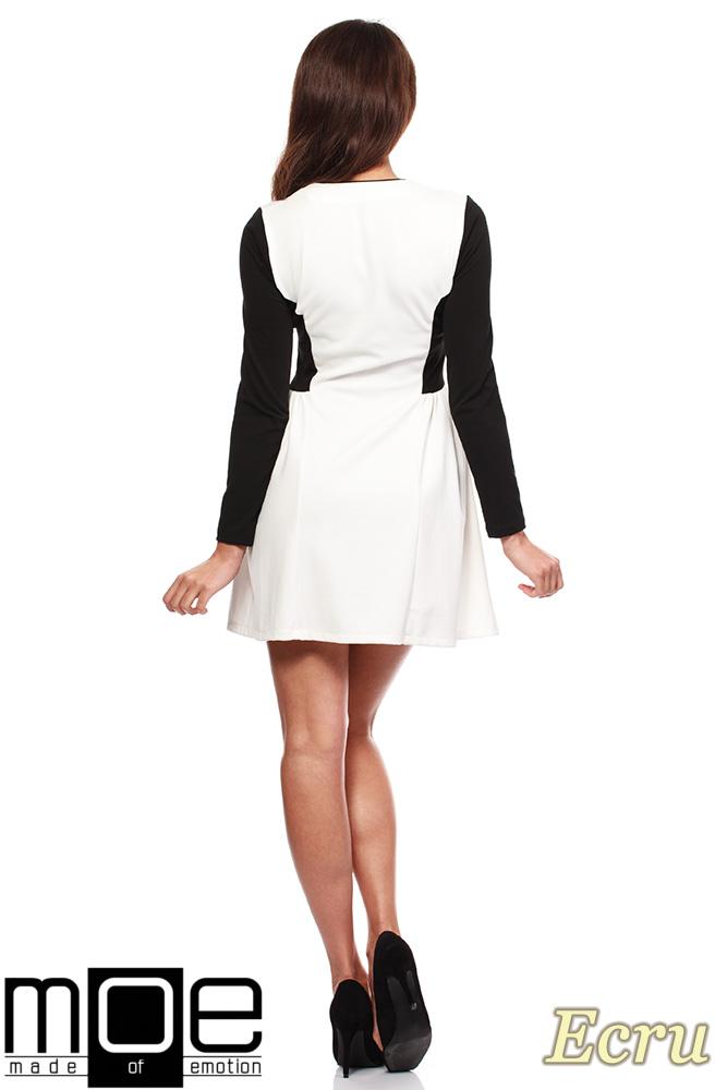 CM1220 Kobieca sukienka mini z marszczeniem na biodrach - ecru OUTLET