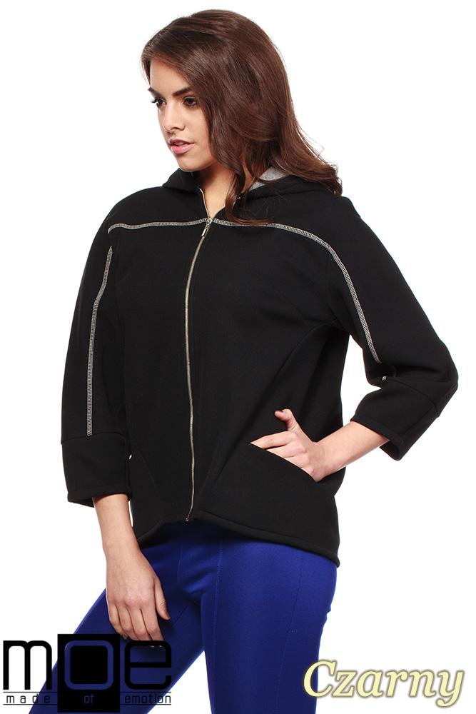 CM1223 Damska bluza oversize z kapturem - czarna