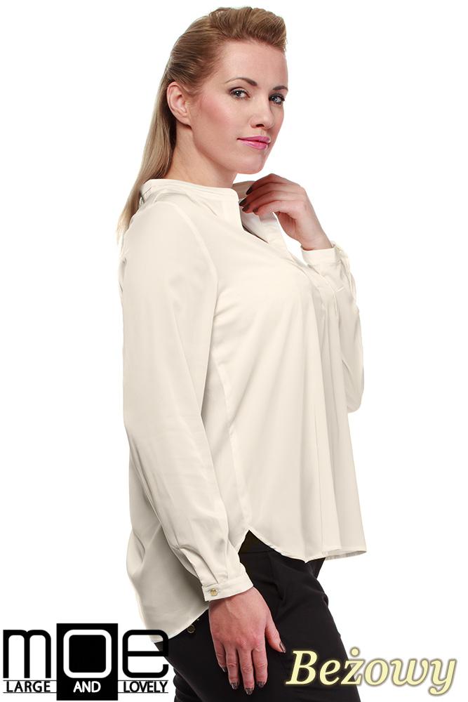CM0670 Bluzka koszulowa ze stójka i kieszonką r.44 - 52 - beżowa