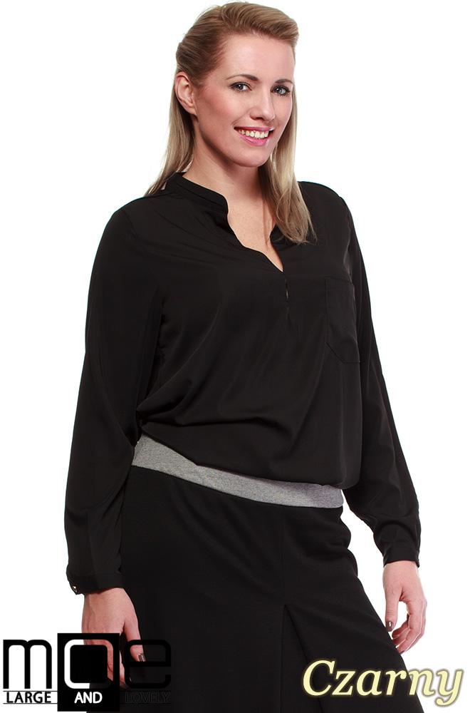 CM0670 Bluzka koszulowa ze stójka i kieszonką r.44 - 52 - czarna