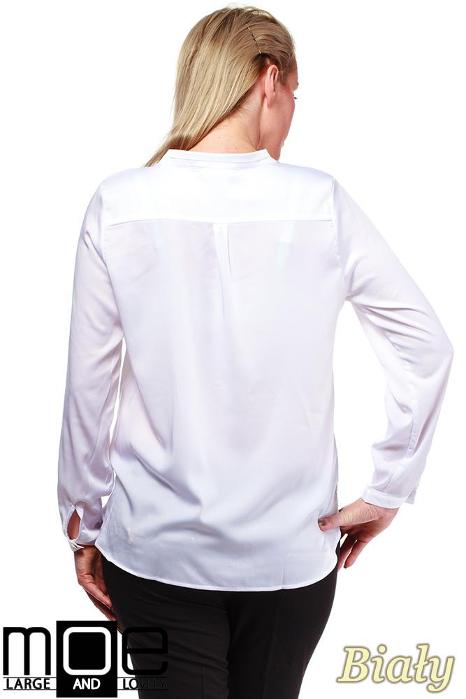 CM0670 Bluzka koszulowa ze stójka i kieszonką r.44 - 52 - biała