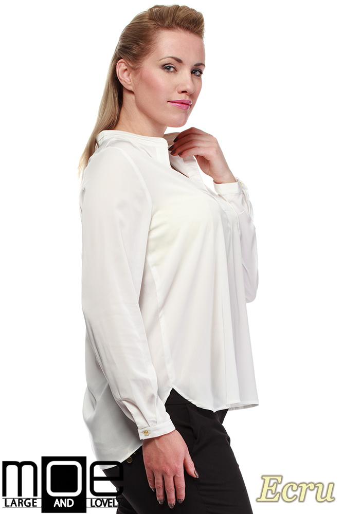 CM0670 Bluzka koszulowa ze stójka i kieszonką r.44 - 52 - ecru