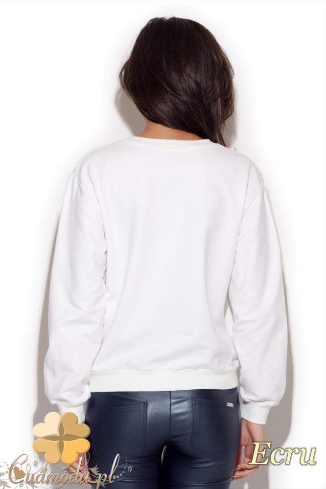CM1225 Modna damska bluza z dużym nadrukiem - ecru