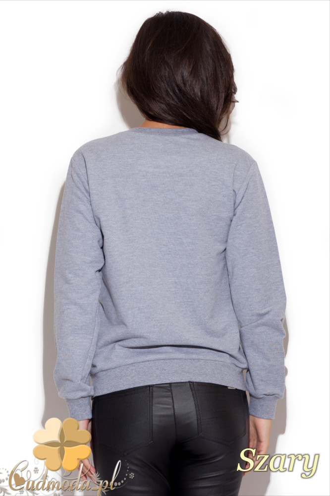 CM1225 Modna damska bluza z dużym nadrukiem - szara