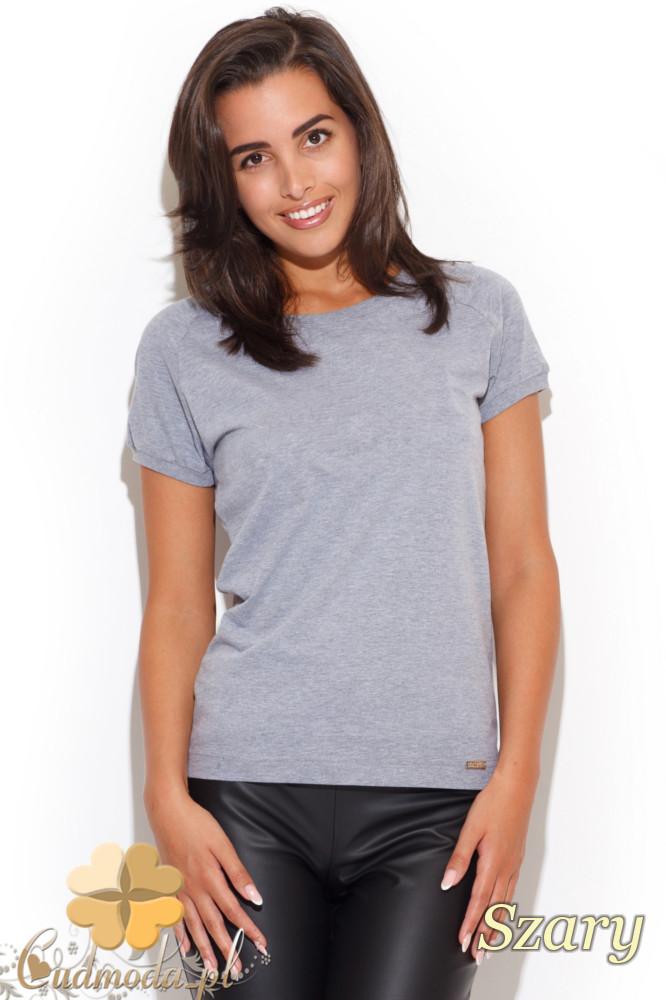 CM1228 Elegancka koszulka damska t-shirt - szara