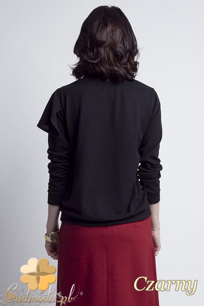 CM1233 Bluzka damska z ozdobnym żabotem - czarna
