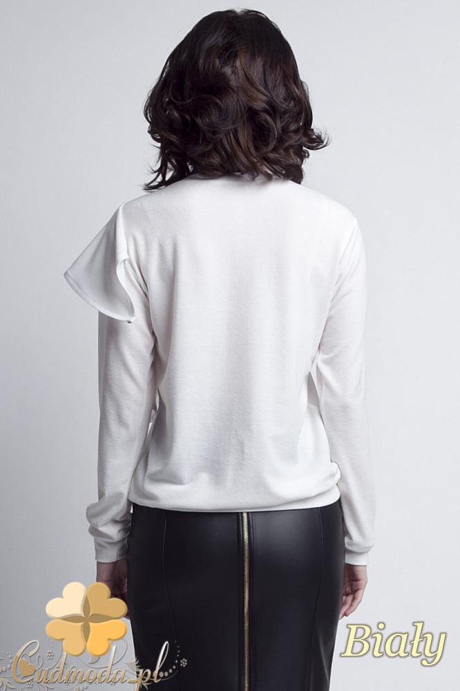 CM1233 Bluzka damska z ozdobnym żabotem - biała