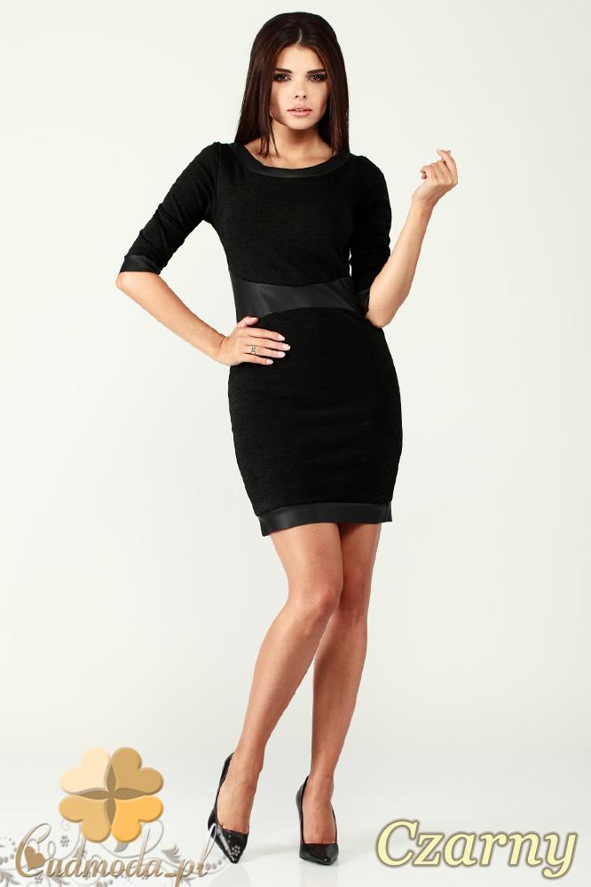 CM0996 Sukienka mini z rękawem do łokcia i wstawkami z matowej skóry - czarna