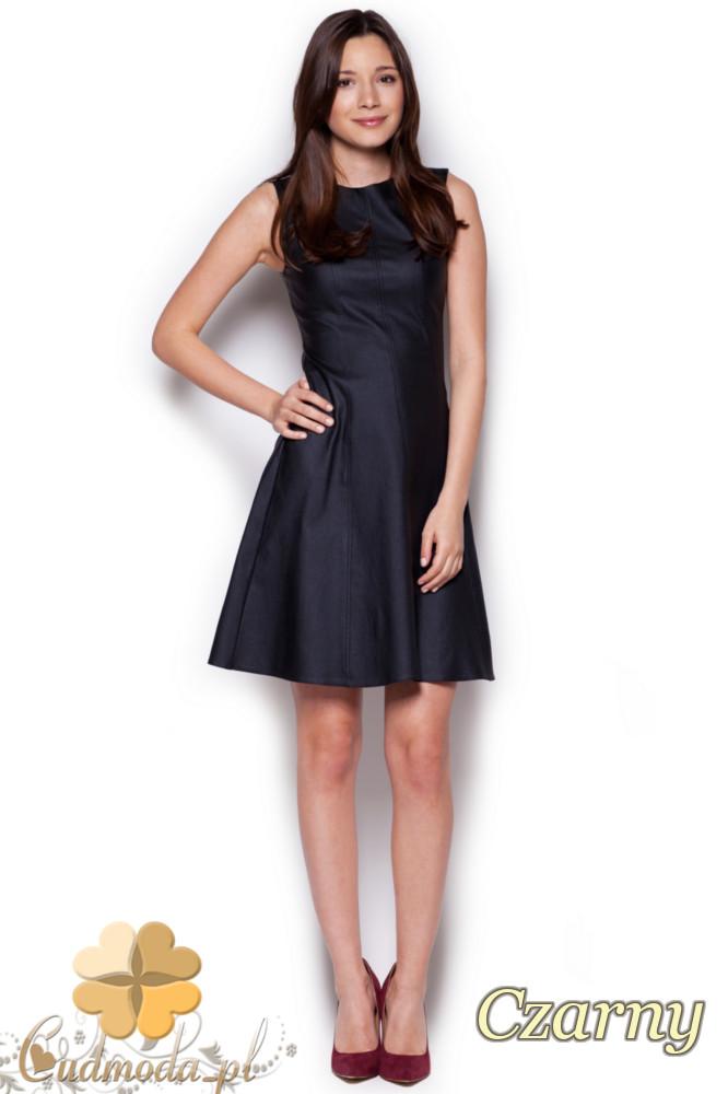 CM1236 Dopasowana sukienka damska z rozkloszowanym dołem - czarna