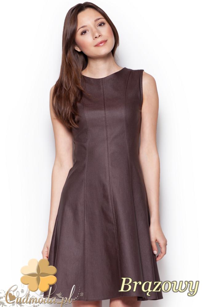 CM1236 Dopasowana sukienka damska z rozkloszowanym dołem - brązowa