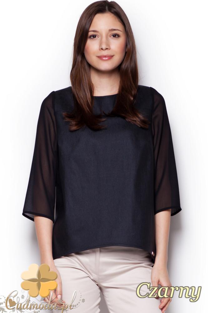 CM1241 Modna rozkloszowana bluzka damska - czarna