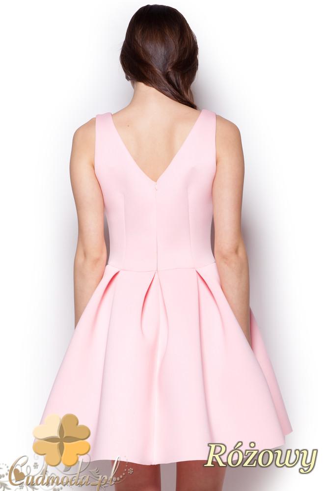 CM1242 Piankowa, rozkloszowana sukienka damska na studniówkę - różowa