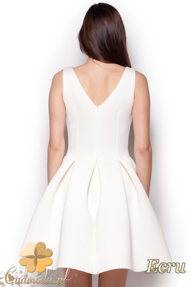 CM1242 Piankowa, rozkloszowana sukienka damska na studniówkę - ecru