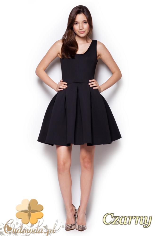 CM1242 Piankowa, rozkloszowana sukienka damska na studniówkę - czarna