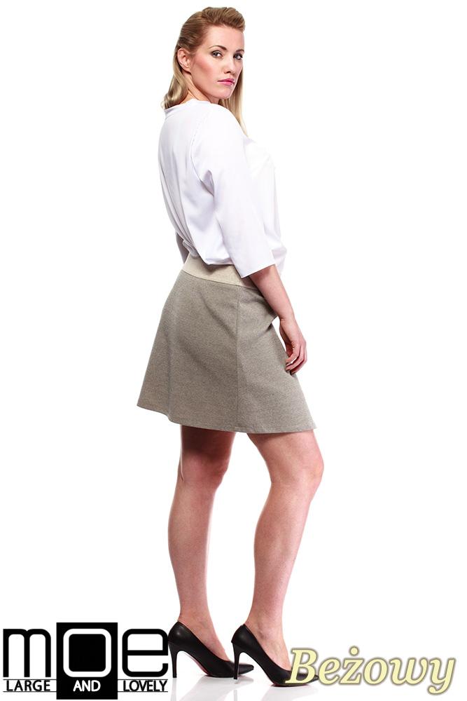 CM1246 Modna spódnica damska z kontrafałdą - beżowa