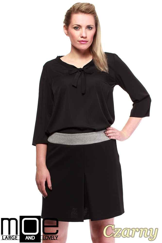 CM1246 Modna spódnica damska z kontrafałdą - czarna