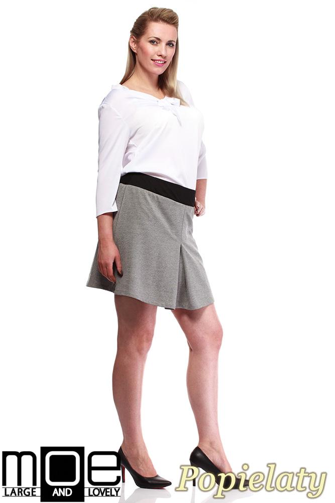 CM1246 Modna spódnica damska z kontrafałdą - popielata