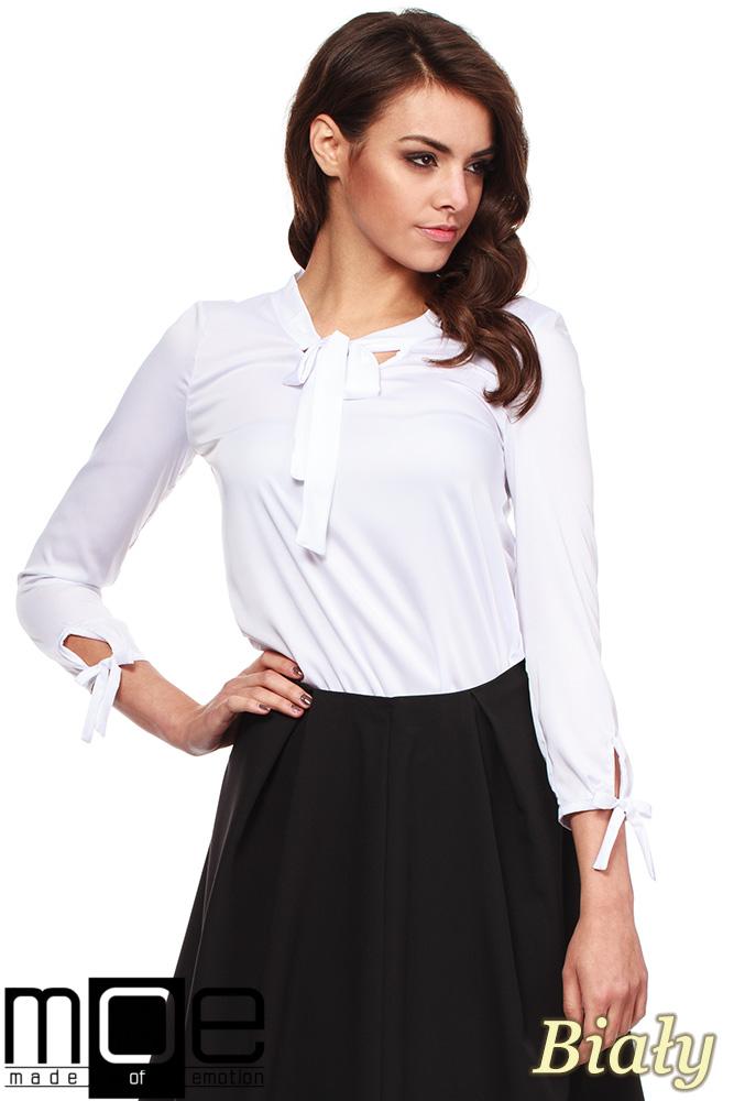 Najnowsze Elegancka, kobieca bluzka koszulowa - biała - Cudmoda DG24
