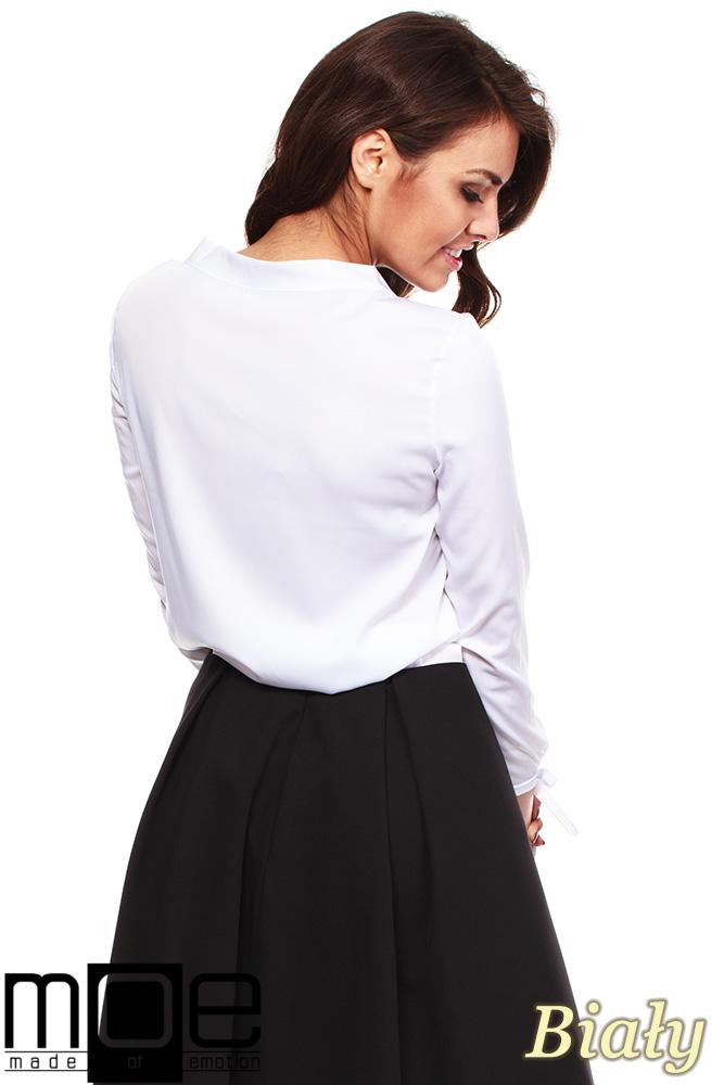 CM1237 Elegancka, kobieca bluzka koszulowa - biała