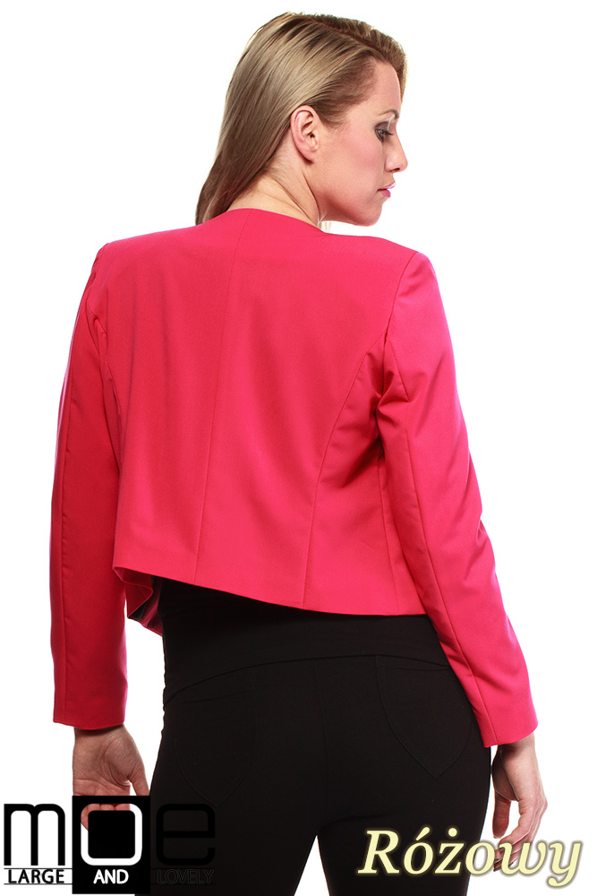 CM1238 Modny niezapinany żakiet damski - różowy