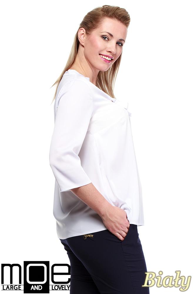 CM1240 Modna bluzka koszulowa z kokardą - biała