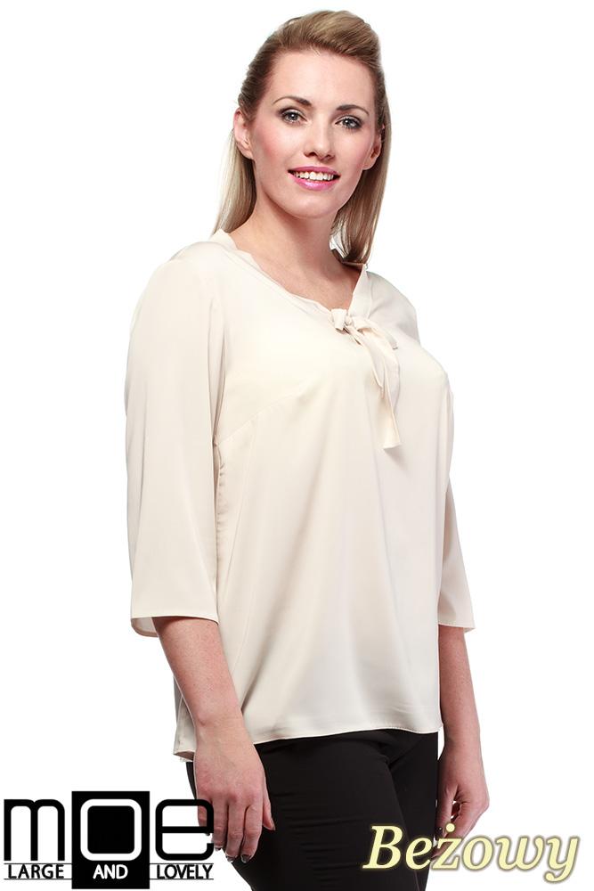 CM1240 Modna bluzka koszulowa z kokardą - beżowa