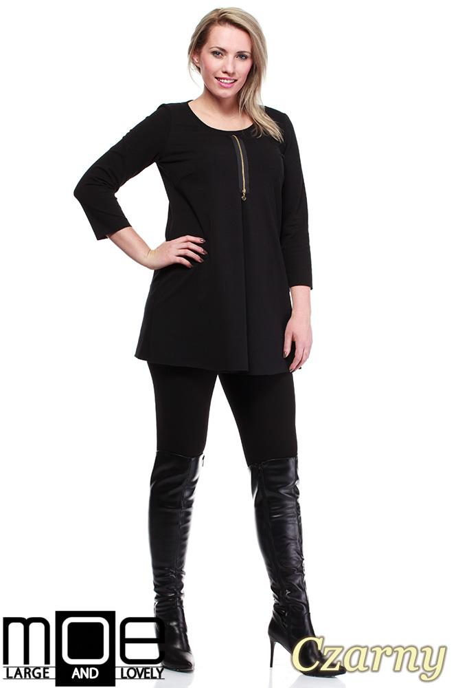 CM1245 Kobieca tunika ze złotym zamkiem - czarna