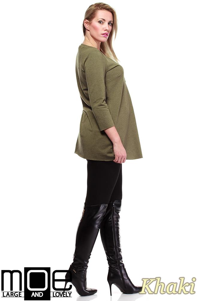 CM1245 Kobieca tunika ze złotym zamkiem - khaki