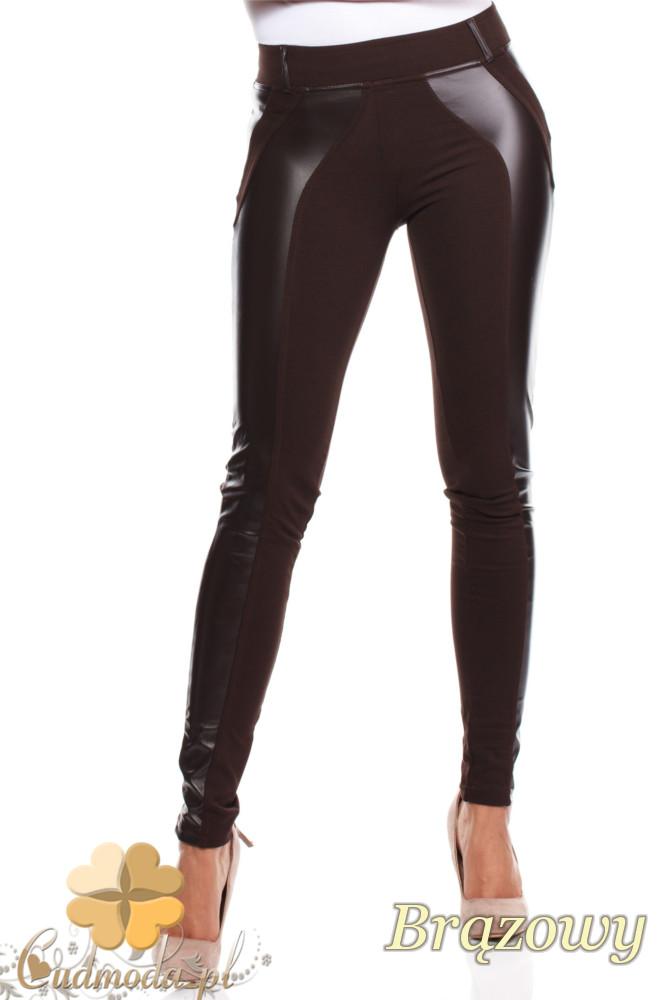 CM0030 Włoskie legginsy ze skórzaną wstawką brązowe