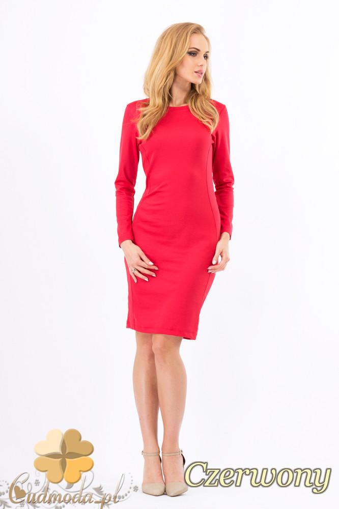 CM1267 Klasyczna sukienka midi z przeszyciami na bokach - czerwona OUTLET