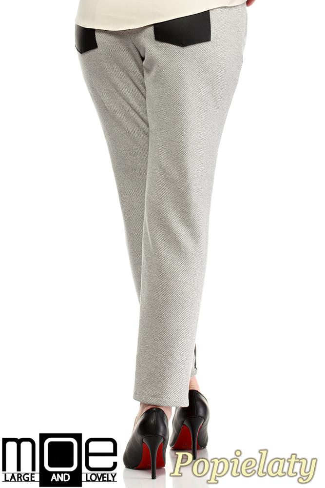 CM1320 Damskie spodnie bryczesy ze wstawkami z eko-skóry 44-52 - popielate