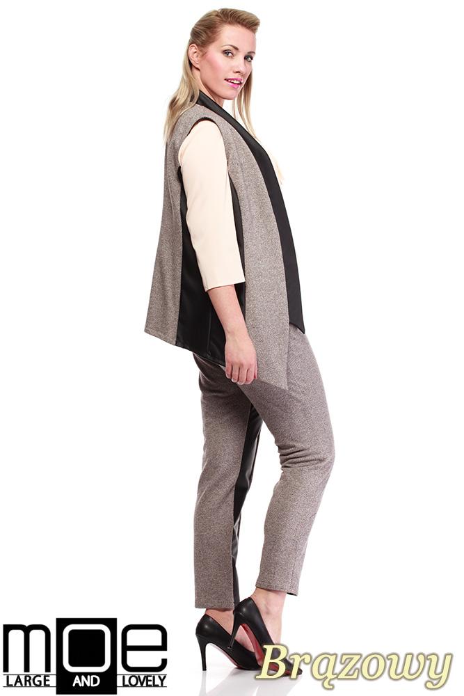CM1320 Damskie spodnie bryczesy ze wstawkami z eko-skóry 44-52 - brązowe