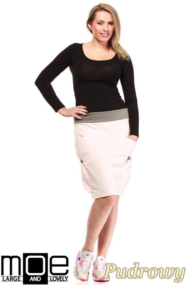 CM1318 Elegancka spódniczka przed kolano 44-52 - pudrowa