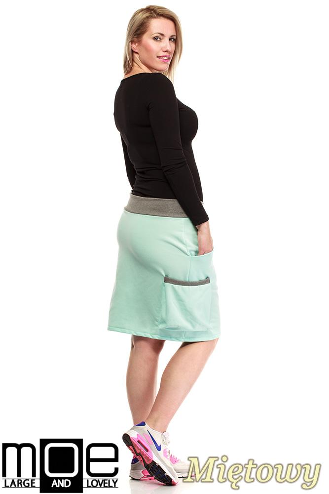CM1318 Elegancka spódniczka przed kolano 44-52 - miętowa