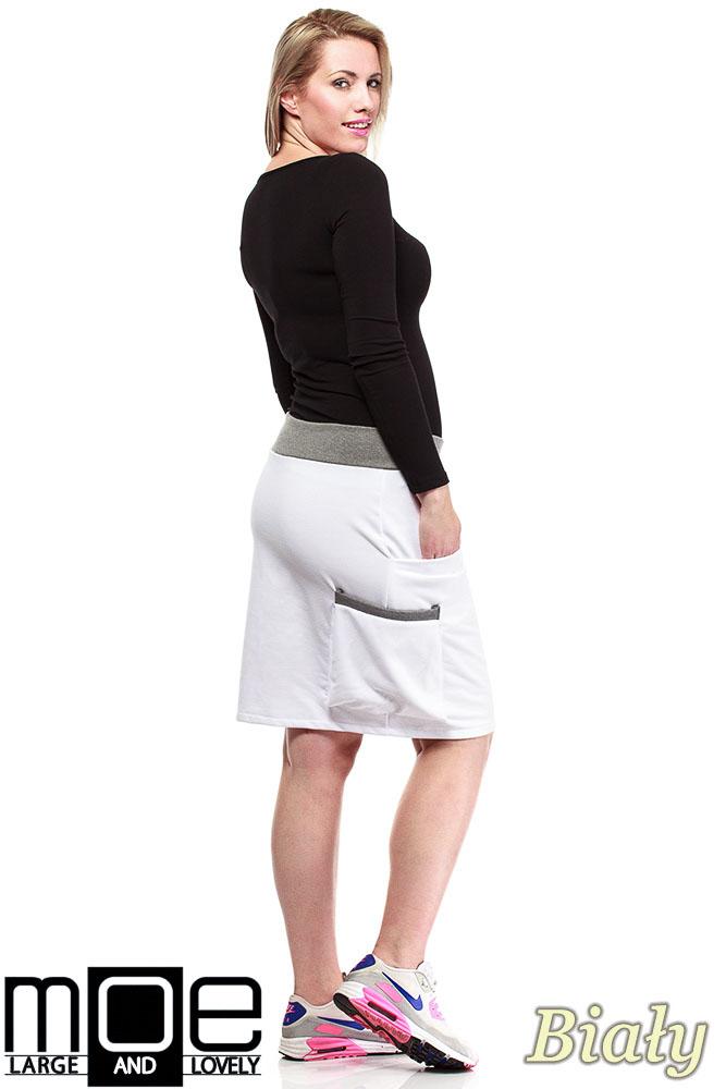 CM1318 Elegancka spódniczka przed kolano 44-52 - biała