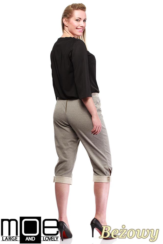 CM1316 Kobiece spodnie bryczesy ze złotymi zamkami 44-52 - beżowe