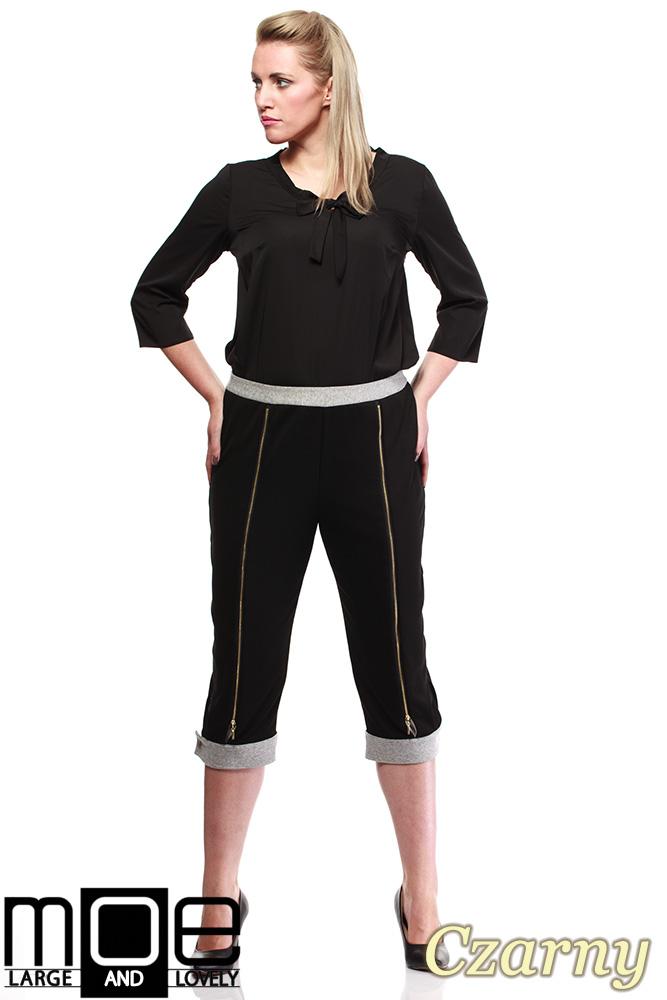 CM1316 Kobiece spodnie bryczesy ze złotymi zamkami 44-52 - czarne