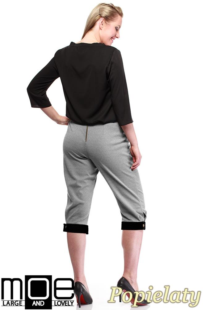 CM1316 Kobiece spodnie bryczesy ze złotymi zamkami 44-52 - popielate