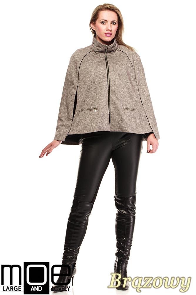 CM1319 Kobieca zasuwana peleryna-ponczo na podszewce - brązowa