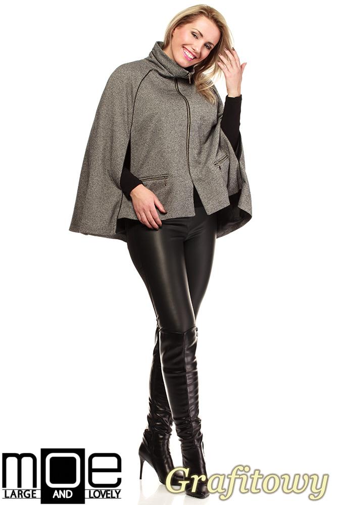 CM1319 Kobieca zasuwana peleryna-ponczo na podszewce - grafitowa