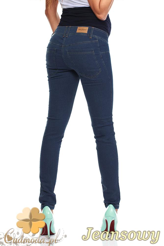 CM0729 Ciążowe jeansowe legginsy spodnie z elastycznym pasem - jeansowe