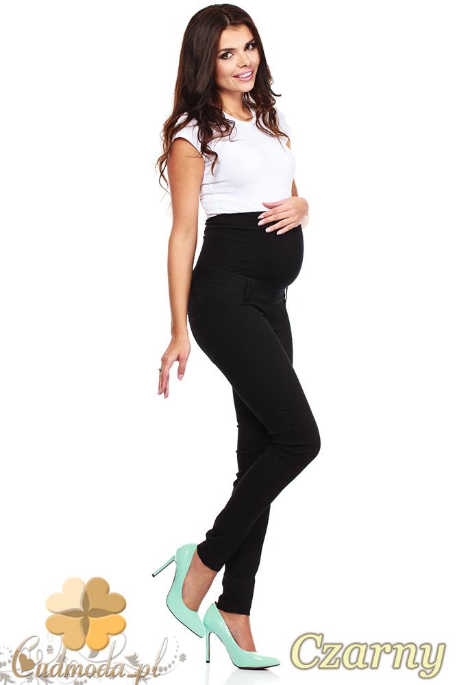 CM0729 Ciążowe jeansowe legginsy spodnie z elastycznym pasem - czarne