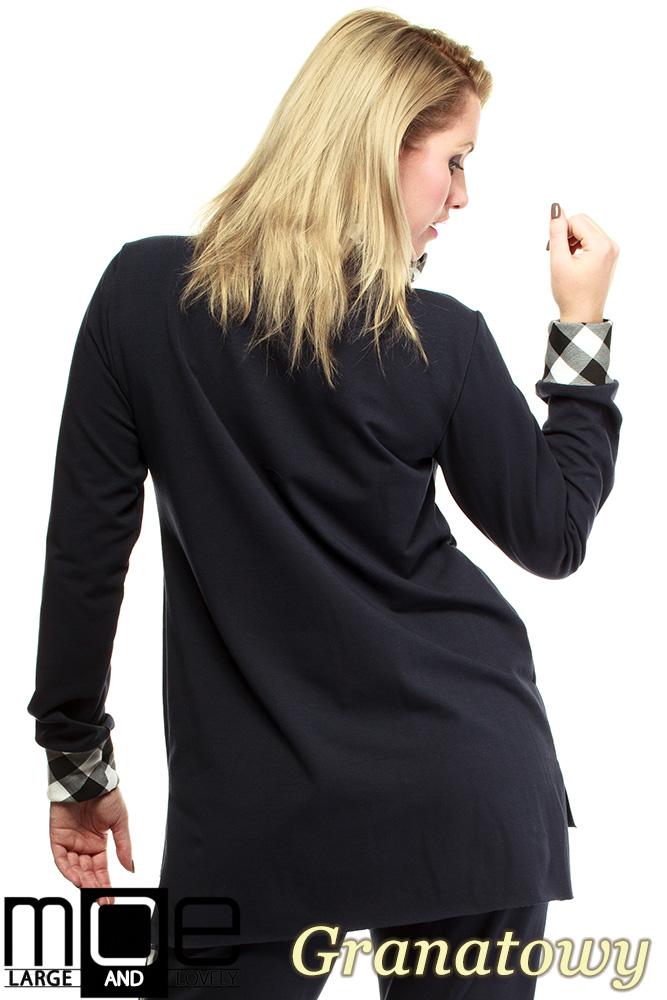 CM1324 Asymetryczna damska bluza dresowa 44-52 - granatowa