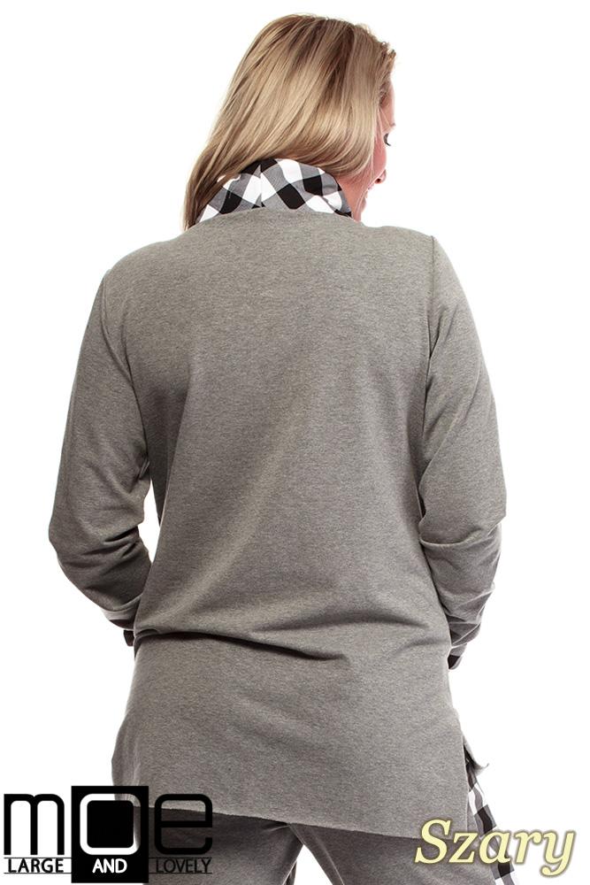 CM1324 Asymetryczna damska bluza dresowa 44-52 - szara