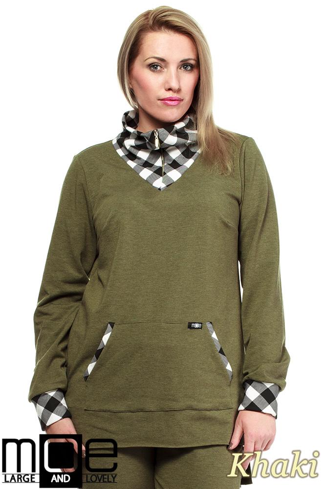 68994de84 CM1324 Asymetryczna damska bluza dresowa 44-52 - khaki ...